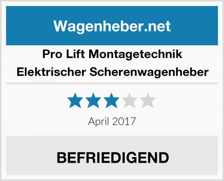Pro Lift Montagetechnik Elektrischer Scherenwagenheber Test
